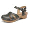 LOSTISY Handmade Stitching Sandals Buckle Summer Solid Color Casual Wedges - Army