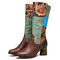 SOCOFY Retro Floral Cloth Paisley Splicing Colorblock Leather Wearable Sole Chunky heel Mid-calf Boots - Coffee