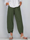 Solid Color Elastic Waist Casual Pants For Women - Green