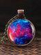 Vintage Glass Gem Women Necklace Universe Starry Sky Pendant Necklace Jewelry - #03