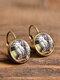 Vintage Glass Gem Dangle Women Earrings Animal Insect Cats Birds Pattern Earrings - #08