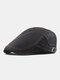 Men Cotton Patchwork Color Forward Hat Beret Hat Flat Cap - Black