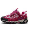 Women Leather Slip Resistant Lace Up Outdoor Hiking Sneakers - Claret