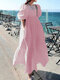 Casual Solid Color Big Swing Pockets Cotton Loose Dress - Pink