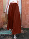 Casual Solid Color Elastic Waist Drawstring Plus Size Wide Leg Pants - Rust Red