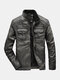 Mens Zip Up Faded Effect Casual PU Biker Jackets With Pocket - Gray