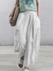 Pleated Solid Color Cotton Loose Plus Size Pants With Pockets - White