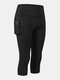 Women Quick-Drying High Elastic Skinny Sports High Waist Cropped Pants With Side Pocket - Black