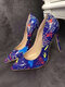 Women Colorful Graffiti Pattern Pointed Toe Slim High Heels Halloween Party Shoes - Blue