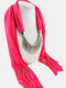 20 Colors Bohemian Women Scarf Necklace Shawl Autumn Winter Tassel Pendant Necklace - #17