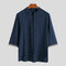 Mens Chinese Style Plain 100% Cotton Half Sleeve Plus Size Stand Collar Shirt