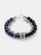 Punk Alloy Frosted Stone Chain Bracelet - #04