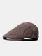 Men Washed Distressed Cotton Solid Argyle Letter Pattern Embroidery Simple Sunscreen Beret Flat Cap - Coffee