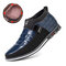 Men Classic Business Casual Slip On Leather Business Casual Ankle Boots - Blue(Plush Lining)