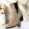 Plus Size Women Casual Solid Color Simple Pointed Toe Zipper Chunky Heel Chelsea Boots - Camel