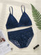 Women Floral Lace Removable Triangle Backless Wireless Lightly Bra Set - Blue