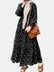 فستان إسلامي كاجوال بأكمام طويلة مكشكش بطبعة الأزهار للنساء - أسود