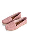 Large Size Women Comfy Soft Breathable Hollow Stitching Flat Driving Shoes - Pink