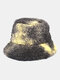 Women Tie-dye Mix Color Lamb Fur Warm Casual Cute Bucket Hat - Black