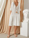 Solid Color Pockets V-neck Half Sleeve Casual Dress For Women - White