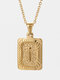 Vintage Gold Square Stainless Steel Letter Pattern Pendant - I