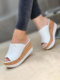 Large Size Women Comfy Peep Toe Solid Color Platform Wedges Slippers - White