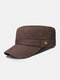 Men Cotton Solid Color Decorative Straps Stitching Breathable Casual Military Hat Flat Cap - Coffee