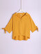Solid Lapel Half Sleeve Plus Size Casual Blouse - Earth Yellow