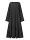 Solid Color O-neck Long Sleeve Plus Size Casual Dress with Pocket - Black
