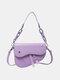 Women Chains Hasp Saddle Bag Crossbody Bag Shoulder Bag - Purple