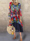 Print Patchwork V-neck Casual Plus Size Maxi Dress - Red