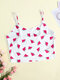 Women Multi All Over Printed Thin Crop Cami Strappy Bra - Red