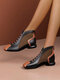 Women Microfiber Leather Splicing Breathable Mesh Fashion Casual Round Heel Ankle Boots - Black