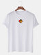 Mens Cotton Letter Graphic Print Round Neck Casual Short Sleeve T-Shirts - White