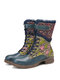 SOCOFY Elegant Ruffle Flowers Embossed Genuine Leather Stitching Embroidered Comfy Short Boots - Blue