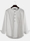 Plus Size Mens Solid Cotton Casual Long Sleeve Henley Shirts With Pocket - White