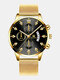 14 Colors  Alloy Mesh Band Men Business WatchDecorated Pointer Calendar Quartz Watch - Gold Band Black Dial Gold Pointe