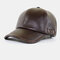 Autumn And Winter PU Leather Hat With Velvet Warmth Men's Outdoor Baseball Cap Fashion All-Match Cap - Dark Coffee