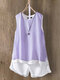 Vintage Solid Sleeveless Double Layer Tank Top - Purple