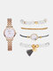 5 Pcs Women Watch Set Marble Dial Wrist Watch Tassel Pendant Beaded Bracelet - White