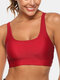 Women Solid Color Stretch Criss-Cross Breathable Sport Yoga Thin Bra - Red