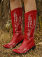 Plus Size Women Retro Pointed Toe Embroidered Chunky Heel Cowboy Boots - Red
