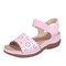 Women Hollow Out Elastic Band Opened Toe Slide Sandals - Pink