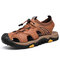 Men Genuine Cow Leather Anti-collision Toe Outdoor Hiking Sandals - Brown
