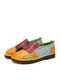 SOCOFY Casual Ethnic Color Block Patchwork Cowhide Leather Loafers Non Slip Soft Slip On Flat Shoes Loafers - Yellow