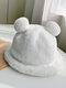 Women Faux Rabbit Fur Warm Soft Cute Casual All-match Animal Ear Pattern Bucket Hat - #06