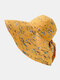 Chapeau de seau de protection solaire de bord surdimensionné d'impression de motif floral de dacron de femmes - Jaune