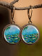 Vintage Glass Gemstone Dangle Earrings plant Flower Pattern Women Pendant Earrings Jewelry - #08
