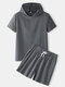 Mens Solid Color Cotton Linen Plain Basics Hooded Two Pieces Outfits - Dark Gray