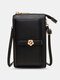 Casual Precision Suture 9 Cards Slots 6.8 Inch Phone Bag Touch Screen Simple Long Crossbody Bag - Black